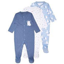 mothercare BOYS POLAR BEAR SLEEPSUIT BABY 3 PACK Piżama blue