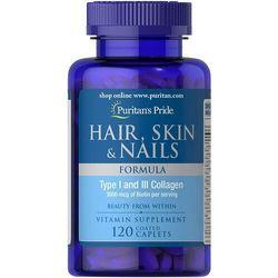 Włosy, Skóra, Paznokcie (Hair, Skin & Nails), Puritan's Pride, 120 tabletek