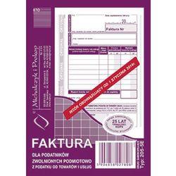 Faktura dla podatników zwolnionych podmiotowo z podatku od towarów i usług MiP 205-5E A6