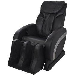 Elektryczny fotel masujący ze sztucznej skóry, czarny