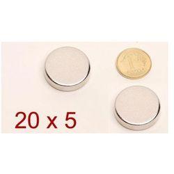 Dwa Małe MOCNE Magnesy Neodymowe Walcowe (20x5mm).