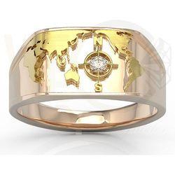 Sygnet Morski z różowego i żółtego złota z brylantem SJ-1406PZ - Różowe i żółte