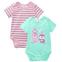 Body niemowlęce z krótkim rękawem (2 szt.), bawełna organiczna bonprix jasny miętowy + jasnoróżowy + jeżynowy