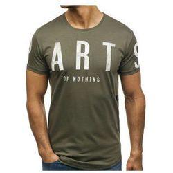 T-shirt męski z nadrukiem zielony Denley 181167
