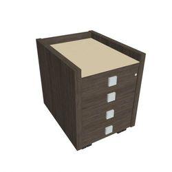 Mobilny kontener pod biurko Assist - 4-szufladowy, przeszklony, dąb antracyt