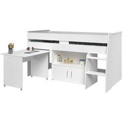 Łóżko marcelle - z biurkiem i miejscem do przechowywania - 90x200 cm - kolor biały marki Vente-unique.pl