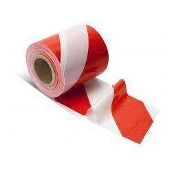 Taśma ostrzegawcza biało czerwona - szerokość 80 mm, długość 100 m