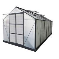 Szklarnie, Szklarnia ogrodowa z poliwęglanu o pow. 13 m² KALIDA z podstawą - Antracytowa -