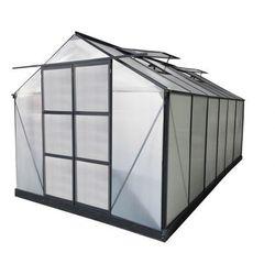 Szklarnia ogrodowa z poliwęglanu o pow. 13 m² KALIDA z podstawą - Antracytowa -