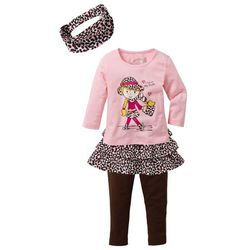 Shirt dziewczęcy + spódnica + legginsy + opaska na włosy (4 części) bonprix pudrowy jasnoróżowy - ciemnobrązowy