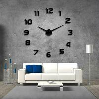 Zegary, Nowoczesny zegar ścienny czarny CYFRY 3D czarny większa niż 50 cm