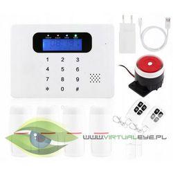 Bezprzewodowy alarm GSM + 5 czujek + syrena
