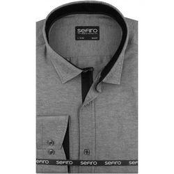 Koszula Męska Sefiro gładka szara melanż SLIM FIT na spinki lub guzik A118