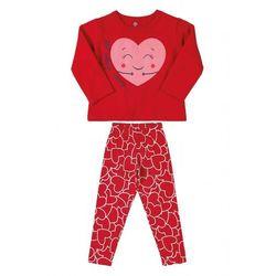 Komplet dziewczęcy - bluza z sercem + czerwone spodnie 3P39A7 Oferta ważna tylko do 2023-08-19