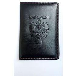 Okładka na paszport, etui na paszport, czarna z czerwonym przeszyciem