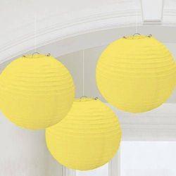 Lampiony żółte - 25 cm - 3 szt.