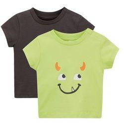 Koszulka niemowlęca (2 szt.), bawełna ekologiczna bonprix zielony kiwi + szary
