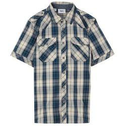 Koszula z krótkim rękawem Regular Fit bonprix ciemnoniebiesko-naturalny w kratę
