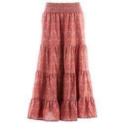 Długa spódnica, kolekcja Maite Kelly bonprix brązowy marsala - biały z nadrukiem