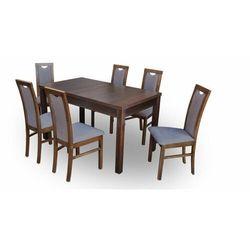 """Zestaw """"DIVA"""" stół + 6 krzeseł - ciemny brąz"""