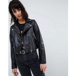 ASOS Washed Leather Biker Jacket - Black