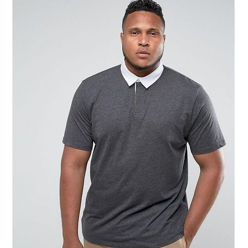 Męskie koszulki polo, ASOS PLUS Rugby Polo Shirt In Charcoal - Grey