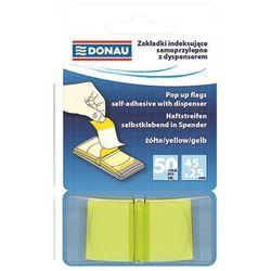 Zakładki indeksujące DONAU, PP, 25x45mm, 1x50 kart., transparentne żółte