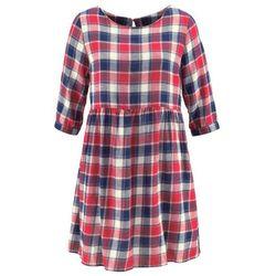 Sukienka flanelowa, długi rękaw bonprix czerwono-kobaltowy w kratę