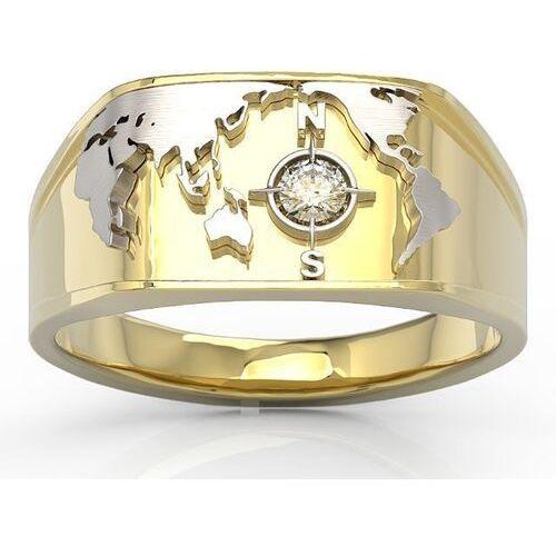 Sygnety, Sygnet morski z żółtego i białego złota z brylantem sj-1410zb