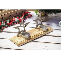 KOOPMAN DECORATION Podwójny świecznik świąteczny w kolorze srebrnym