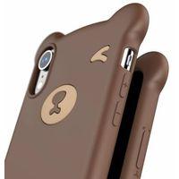 Etui i futerały do telefonów, Baseus Bear Silicone Case silikonowe etui pokrowiec ze smyczą na nadgarstek iPhone XR brązowy (WIAPIPH61-BE08)