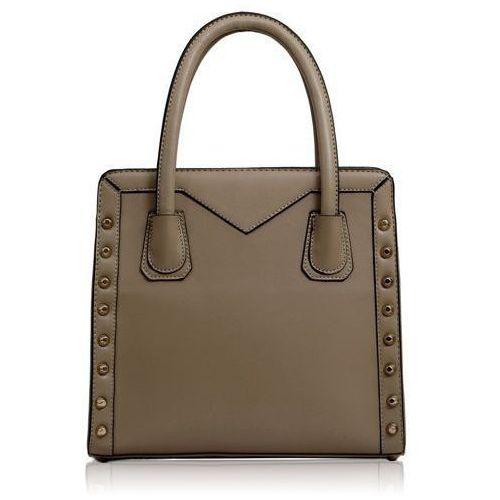 Torebki, Gładka beżowa torebka damska ze złotymi ćwiekami - beżowy
