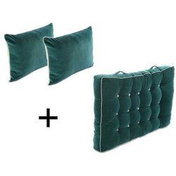 Zestaw 1 materac i 2 poduszki oparciowe na palety SAORGE z bawełny – kolor turkusowy