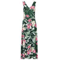 Długa sukienka bonprix zielony w kwiaty