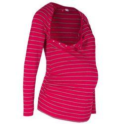 Shirt ciążowy i do karmienia piersią, z napami bonprix ciemnoczerwono-szary w paski