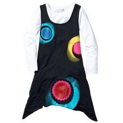 Sukienka dziewczęca + shirt z długim rękawem (kompl. 2-częściowy) bonprix czarno-biały