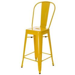 Stołek barowy Paris Back inspirowany Tolix żółty