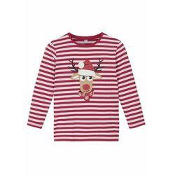 Shirt chłopięcy z długim rękawem, bawełna organiczna bonprix czerwono-biały w paski