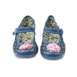 Befado BALERINY dziecięce DZIEWCZĘCE - niebieskie z kwiatkiem, bawełniane, oddychające