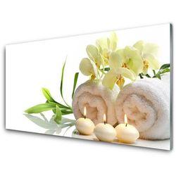 Panel Szklany Spa Ręczniki Świece Storczyk