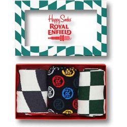 Skarpetki Happy Socks x Royal Enfield Giftbox (3-pak) REBFL01-4000 - Biały ||Zielony