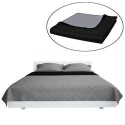 vidaXL Dwustronna pikowana narzuta na łóżko Czarna/Szara 230 x 260 cm Darmowa wysyłka i zwroty