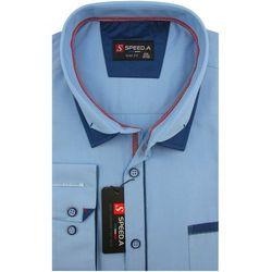 Koszula Męska Speed.A gładka niebieska na długi rękaw duże rozmiary D892