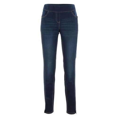 Spodnie damskie, Dżinsy ze stretchem z wysoką talią i ozdobnymi szwami bonprix ciemny denim