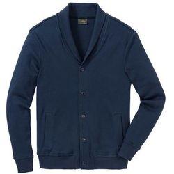 Bluza bejsbolówka dresowa ze strukturalnego materiału Regular Fit bonprix ciemnoniebieski
