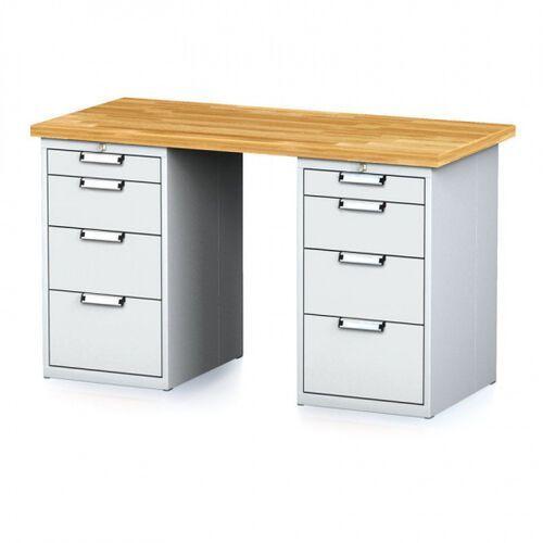 Stoły warsztatowe, Stół warsztatowy MECHANIC, 1500x700x880 mm, 2x 4 szufladowy kontener, szary/szary