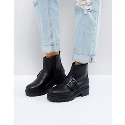 ASOS ACCELERATE Chunky Buckle Ankle Boots in Water Based PU - Black