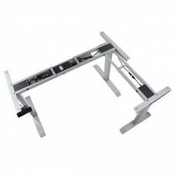 Trzysilnikowy kątowy stelaż metalowy biurka (stołu) z elektryczną regulacją wysokości, elektryczny, UT04-2T/90A/A, kolor aluminium - noga 2-segmentowa