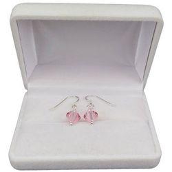 Kolczyki srebrne regularne różowe kryształy o długości 2,5 cm SKK01