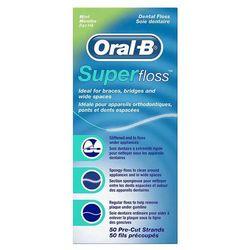 ORAL-B SuperFloss MINT 60cm x 50szt. - nić dentystyczna z cienką gąbką czyszczącą do mostów, aparatów